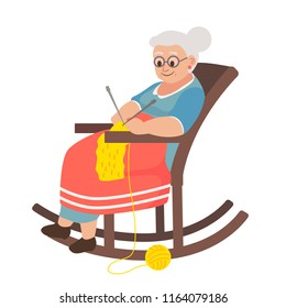 old woman in a rocking chair knitting a scarf. Cartoon vector illustration