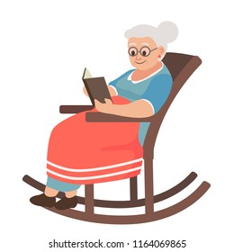 old woman in a rocking chair reading a book. Cartoon vector illustration