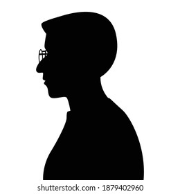 Old woman silhouette vector, black and white people.