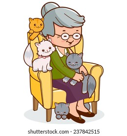Old woman sitting in an armchair with her cats at home.