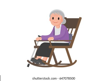 Old woman sitting on rocking chair. Granny relax in her rocking chair. Isolated Vector illustration.