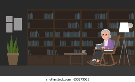 Old woman sitting on rocking chair reading a book in study room. elderly woman relax in her rocking chair in library. Isolated Vector illustration.