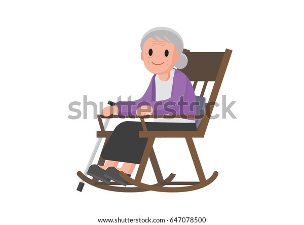check out 1e6ff 4152a Old Woman Sitting On Rocking Chair Stock Vector (Royalty ...