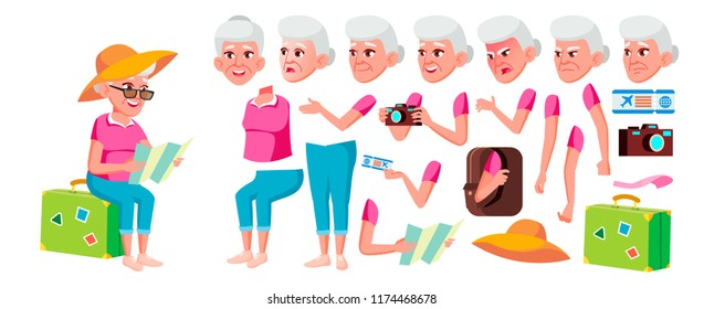 Old Woman Vector. Senior Person Portrait. Elderly People. Aged. Animation Creation Set. Face Emotions, Gestures. Caucasian Retiree. Smile. Web, Poster. Animated. Isolated Cartoon Illustration