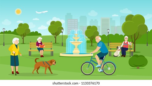 Old woman is walking with a dog. Old man and woman sitting on the bench  in the park. Old man riding a bicycle Vector flat illustration