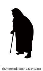 an old woman walking silhouette vector