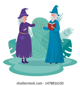 old woman witch and man wizard with magic wand