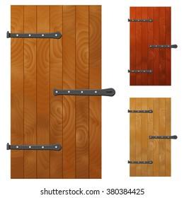 Old wood door. Vector illustration.