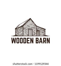 Old Wooden Barn Vector Illustration.