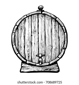 Old wooden barrel with a tap. Black and white hand drawn vector illustrations in sketch style. Front view of beer, wine, rum whiskey traditional  barrel. Isolated on white background.