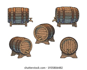 Old wooden barrels  set with taps on stands in different positions, vintage engraving style. Beer, wine, rum whiskey traditional casks. Vector illustrations isolated on white background.
