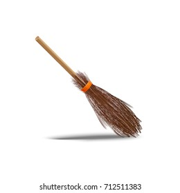 Old wooden broomstick made of brushwood for witch on Halloween night as part of outfit isolated cartoon flat vector illustration on white background.