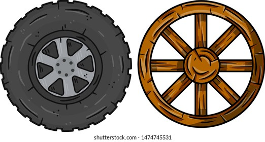 Old wooden cartwheel with crack and new modern auto wheel with tire. Comparison of technologies. Village and road element. Cartoon illustration