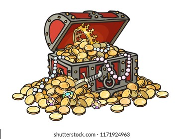 Old wooden chest full of golden coins and jewelry.  Pirate treasure, diamonds, pearls, crown, dagger. Hand drawn cartoon vector illustration isolated on white background. Money finance wealth concept.
