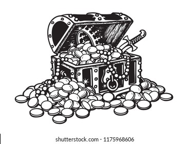 Old wooden chest full of golden coins and jewelry.  Pirate treasure, pearls, crown, dagger. Black and white hand drawn isolated vector illustration in sketch style. Money finance wealth concept.