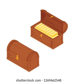 Old wooden chest with gold bars isolated on white background. Vector illustration