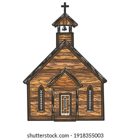 Old wooden church, monastery. Sketch scratch board imitation.