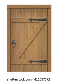 Old wooden door. Closed door, made of wooden planks, with iron hinges. Vector detailed isolated illustration.
