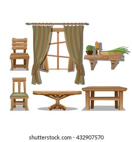 Old wooden furniture. The interior in the style of the Wild West. Vector illustration.
