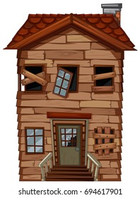 Old wooden house with broken windows illustration