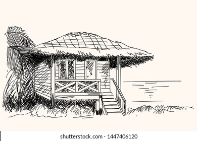 Old wooden hut with thatched roof on the beach. Hand sketch in vector.