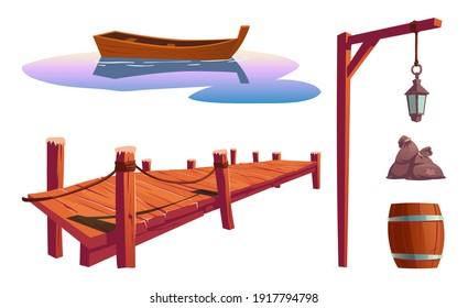 Old wooden pier on river, sea or lake, water surface with boat, pole with lantern, barrel, bags isolated on white background. Vector cartoon set, wharf for fishing, dock for canoe berth at pond