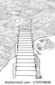 Old wooden pier. Seascape. Coloring book page for adult. Waves, sea, art background.  Hand-drawn, doodle, vector, zentangle, tribal design elements. Black and white.