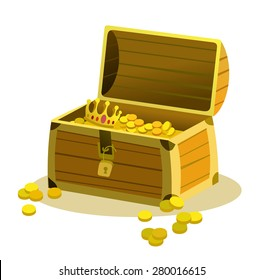 Old wooden pirate chest with coins and treasures. Cartoon vector illustration