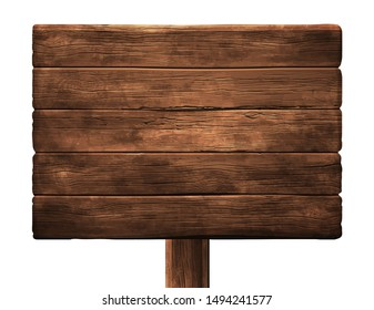 Old wooden shield. Horizontally located wooden boards. Highly realistic illustration