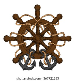 Old wooden ship helm with carved spokes and handles, decorated by rope and admiralty anchors. For nautical heraldry or navy emblem, marine travel design