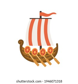 Old wooden ship with sail, flag and paddles. Ancient single-deck sea vessel. Colored flat vector illustration of medieval transport isolated on white background
