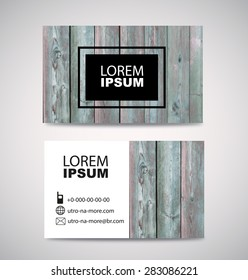 Old Wooden Texture Business Card Background. vector illustration.