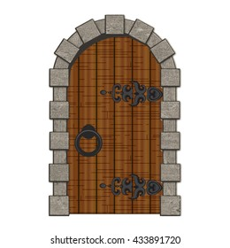 Old wooden vintage doors isolated vector illustration