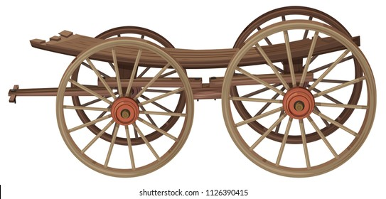 An old wooden wagon illustration