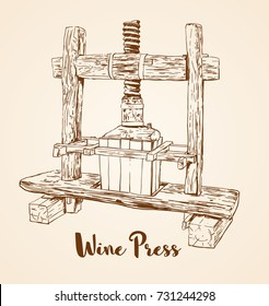 old wooden wine press hand drawn vector illustration.