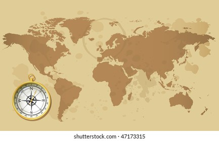 Old world map and compass