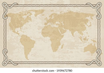 Old world map with frame. Retro design banner. Decorative antique museum picture. Element for marine theme and heraldry. Vector paper texture