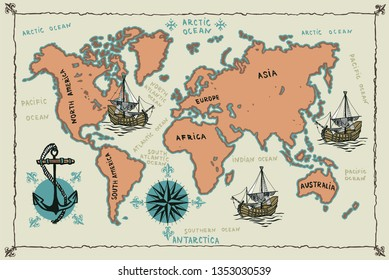 Old world map with hand drawn sailing ships, anchor and compass.