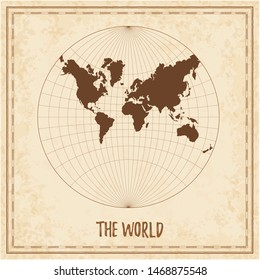 Old world map. Lagrange conformal projection. Medieval style treasure map. Ancient land navigation atlas. Vector illustration.