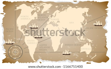 Old World Map Retro Map World Stock Vector Royalty Free 1166751400