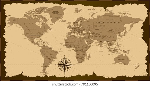 Old world map. Vector illustration.