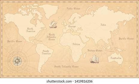 Old world map. Vintage paper map.