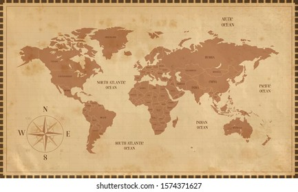 Old world map in vintage style. Political vintage golden world map. Vector stock