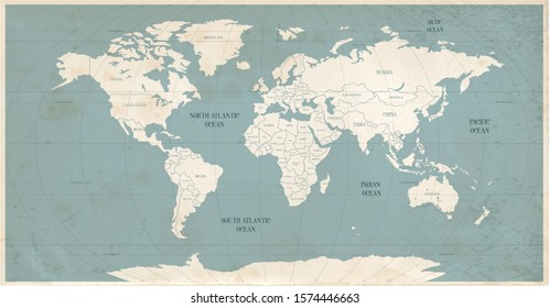 Old world map in vintage style. Political vintage golden world map.Vector stock