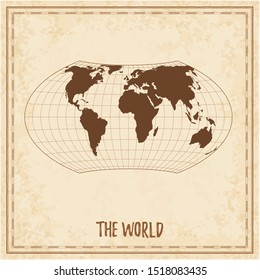 Old world map. Wagner VII projection. Medieval style treasure map. Ancient land navigation atlas. Vector illustration.