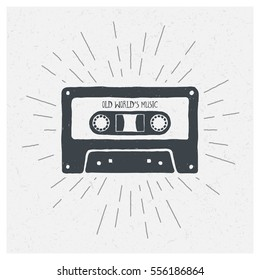 Old World's Music. Inspiring Creative Motivation Quote. Vector Typography Poster Design Concept. Hand drawn textured vintage label. Retro badge. Inspirational lettering. Emblem. Cassette tape.