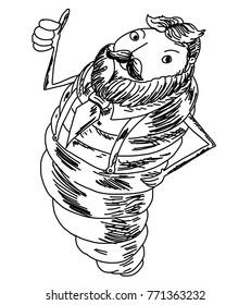 Old worm cartoon vector.Hipster man worm