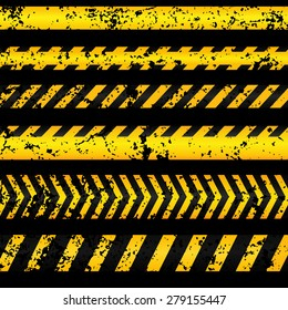 Old worn grungy yellow with black police line and danger tapes on dark background. Vector illustration.
