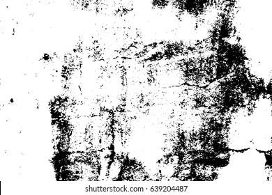 Old worn vector texture. Black grit on transparent background. Old concrete wall. Weathered asphalt surface. Monochrome vintage overlay. Aged scratched stone surface. Rough concrete texture trace