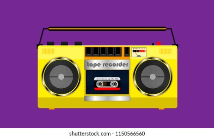 old yellow cassette tape recorder with cassette inside